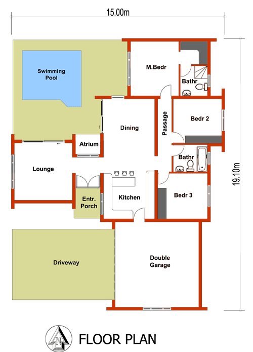 Small house plan 3 bedroom house plans tr158 for Double garage plans free