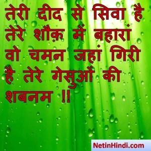 Shabnam status, Shabnam status picture, Shabnam status images, Shabnam status pics, Shabnam status photosतेरी दीद से सिवा है तेरे शौक़ में बहारां  वो चमन जहां गिरी है तेरे गेसुओं की शबनम !!