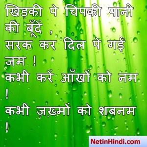 Shabnam shayari dp, Shabnam whatsapp status, Shabnam whatsapp status in hindi, whatsapp status Shabnam Parखिड़की पे चिपकी पानी की बूँदें ,  सरक कर दिल पे गईं जम !  कभी करें आँखों को नम !  कभी ज़ख़्मों को शबनम !