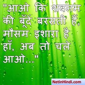 Shabnam shayari dp, Shabnam whatsapp status, Shabnam whatsapp status in hindi, whatsapp status Shabnam Par आओ कि शबनम की बूँदें बरसती हैं,  मौसम इशारा है हाँ, अब तो चले आओ...