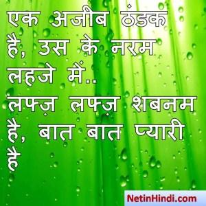 Shabnam shayari dp, Shabnam whatsapp status, Shabnam whatsapp status in hindi, whatsapp status Shabnam Par एक अजीब ठंडक है, उस के नरम लहजे में..  लफ्ज़ लफ्ज़ शबनम है, बात बात प्यारी है