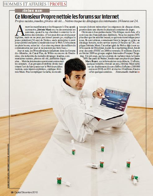 Article magazine Capital : Ce monsieur propre nettoie les forums sur Internet