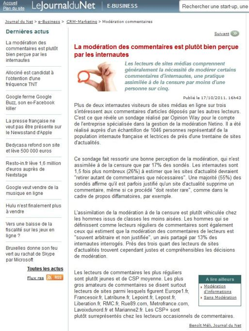 Article JDN : La modération des commentaires est plutôt bien perçue par les internautes