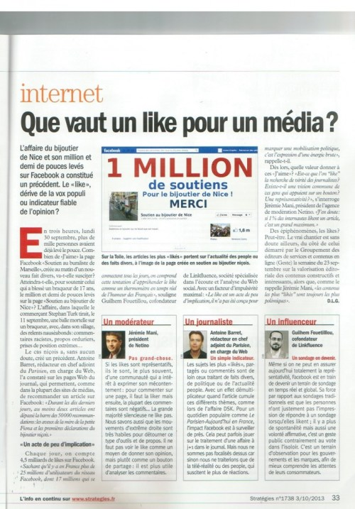 Jérémie Mani consulté par le magazine Stratégie pour donner son avis sur la valeur d'un like