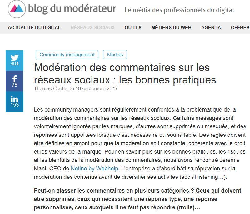 Jérémie Mani nous parle des bonnes pratiques de modération sur Le Blog du Modérateur