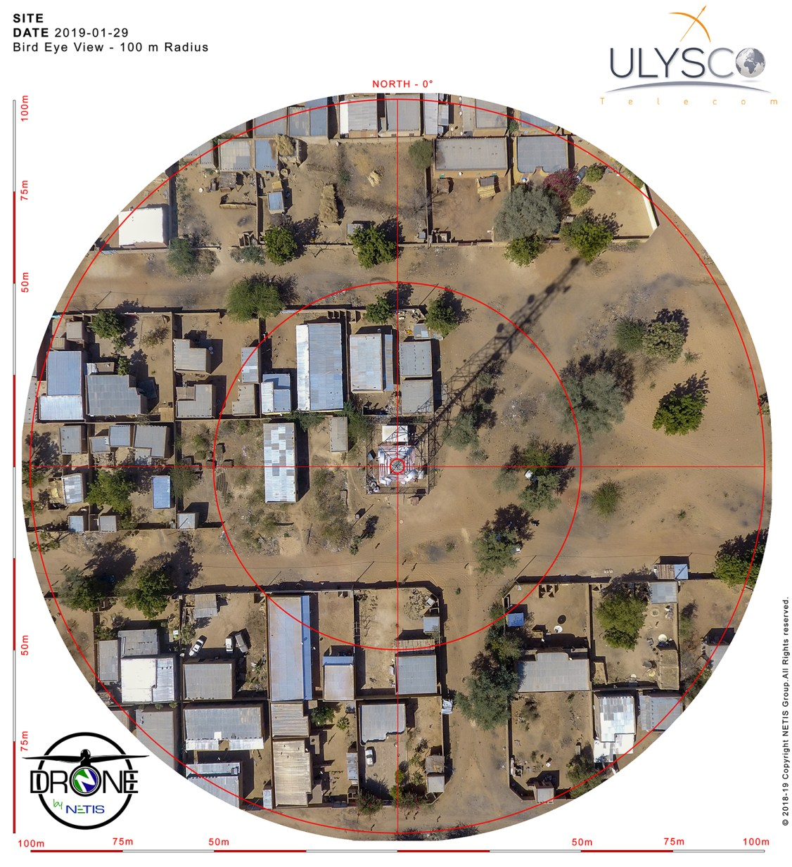 DRONE by NETIS - BURKINA FASO Operation - BIRD EYE VIEW 100m Radius - February 2109