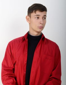 Man wearing a red jacket