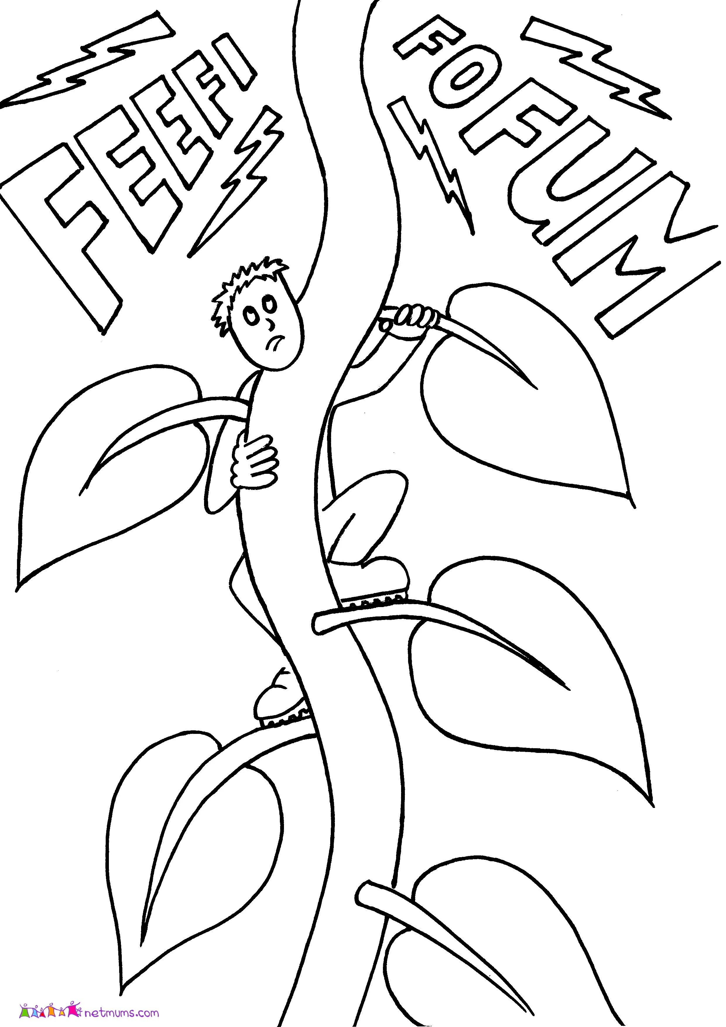 Jack And The Beanstalk Colouring Sheets Sketch Coloring Page