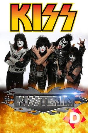 Kiss - Kissteria. Pose de los 4 componentes del grupo Kiss con las caras pintadas y trajes de cuero