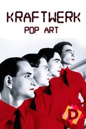 Kraftwerk - Pop Art - Imagen de 4 hombres en blanco y negro con las camisetas y los labios rojos