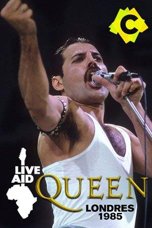 Queen - Live Aid. Freddie Mercury con camiseta sin mangas blancas cantando