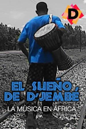 El Sueno de Djembe La Música En África chio de espalda camiseta azul y un Yembé