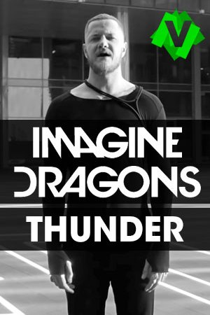 Imagine Dragons - Thunder. foto en blanco y negro con Dan Reynolds de fretnte