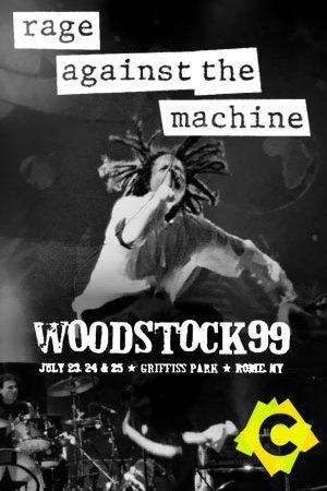 Rage Against The Machine - Festival Woodstock. Zack de la rocha saltando y cantando imagne en blanco y negro
