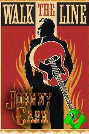 Dibujo de Johnny Cash de espaldas con guitarra