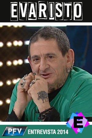 Evaristo - En 'Por Fin, Viernes', Entrevista 2014 - Evaristo con camiseta verde y pelos de punta.