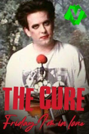 Adam Smith cantante de The Cure con los labios rojos y raya negra en los ojos