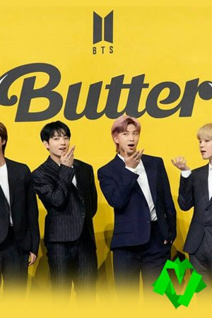 componentes del grupo BTS con chaqueta negra sobre fondo amarillo