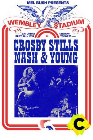 Crosby, Stills, Nash & Young - Concierto Wembley Stadium, Londres 1974