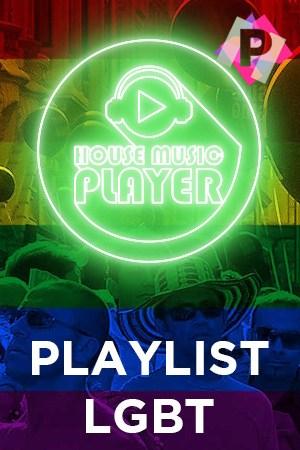 Sobre la bandera multicolor del orgullo gay el logo de la web house music player