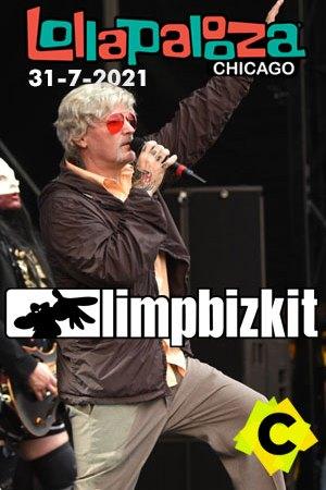 Limp Bizkit - Concierto Lollapalooza, Chicago 2021. Fred Durst con el pelo blanco