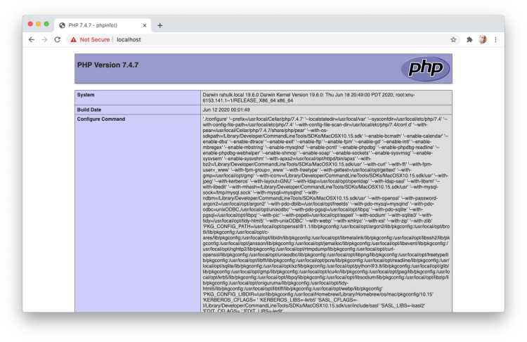 php info on localhost