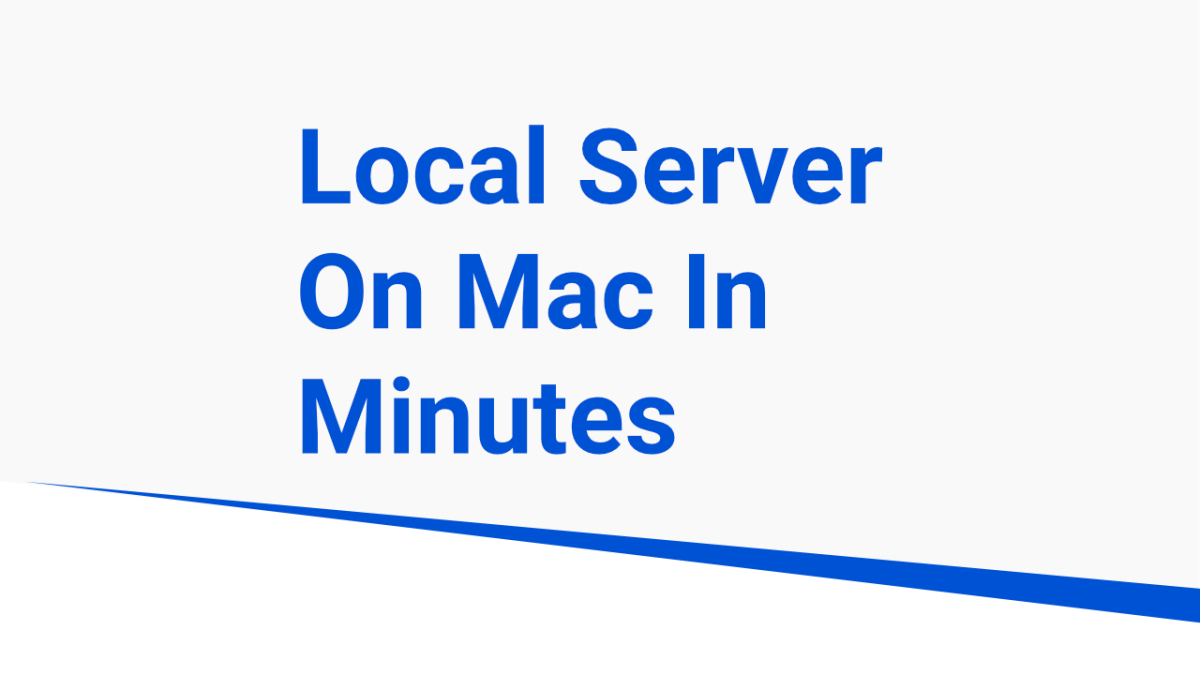 local server on macos