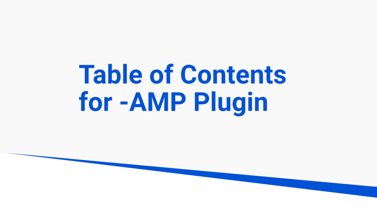 amp table of contents