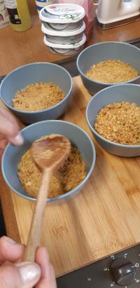 Elderflower Cheesecake - Gently tap down base mix
