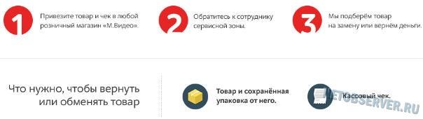интернет-магазин mvideo.ru - возврат товара