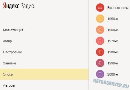 На Радио Яндекс можно выбрать, например, музыку 80-х в категории Эпоха
