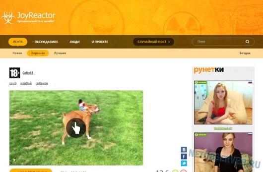 Информационно-развлекательный портал Joyreactor.cc - главная страница