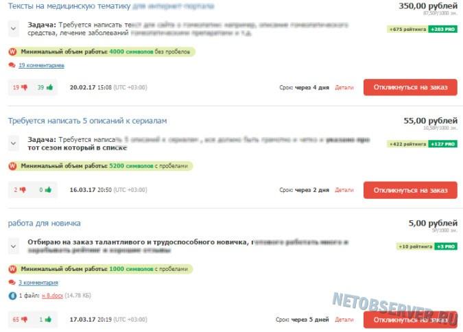 Как заработать в Интернете новичку - пример работ на text.ru