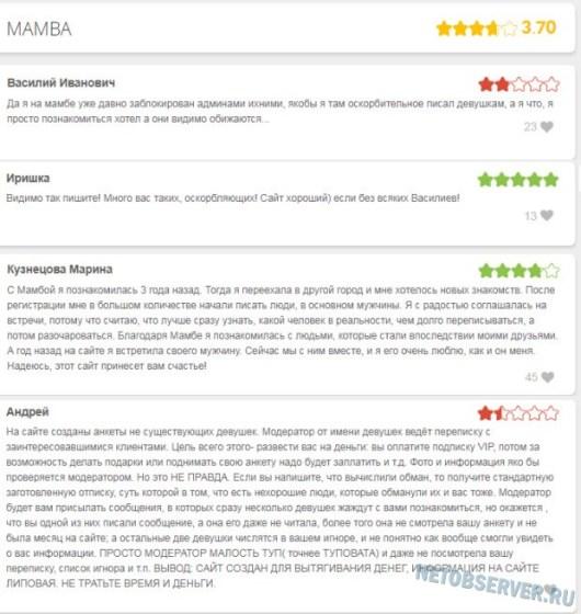 Сайт №3 - разные мнения о Мамбе