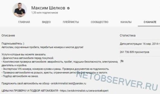 Статистика канала Максим Шелков