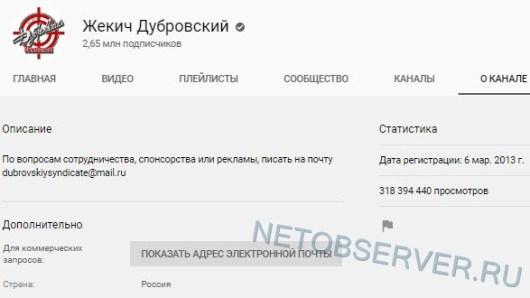 Жекич Дубровский - статистика канала