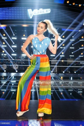 """THE VOICE -- """"Knockout Reality"""" -- Pictured: Miley Cyrus -- (Photo by: Trae Patton/NBC/NBCU Photo Bank)"""
