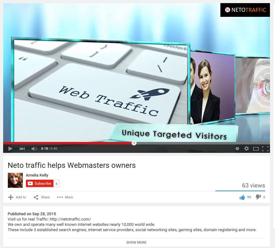netotraffic video in youtube