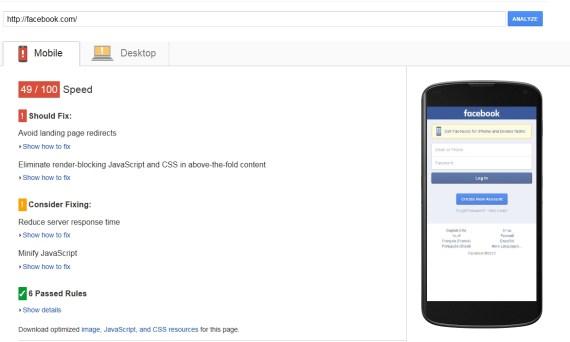 facebook result in mobile speed