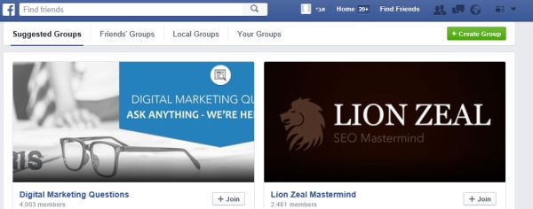 acebook suggested groups