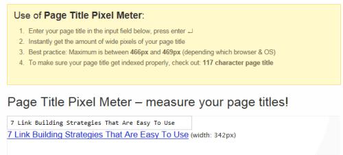 Page Title Pixel Meter