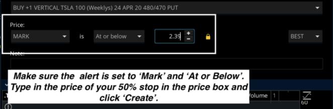 set alert to mark and at or below