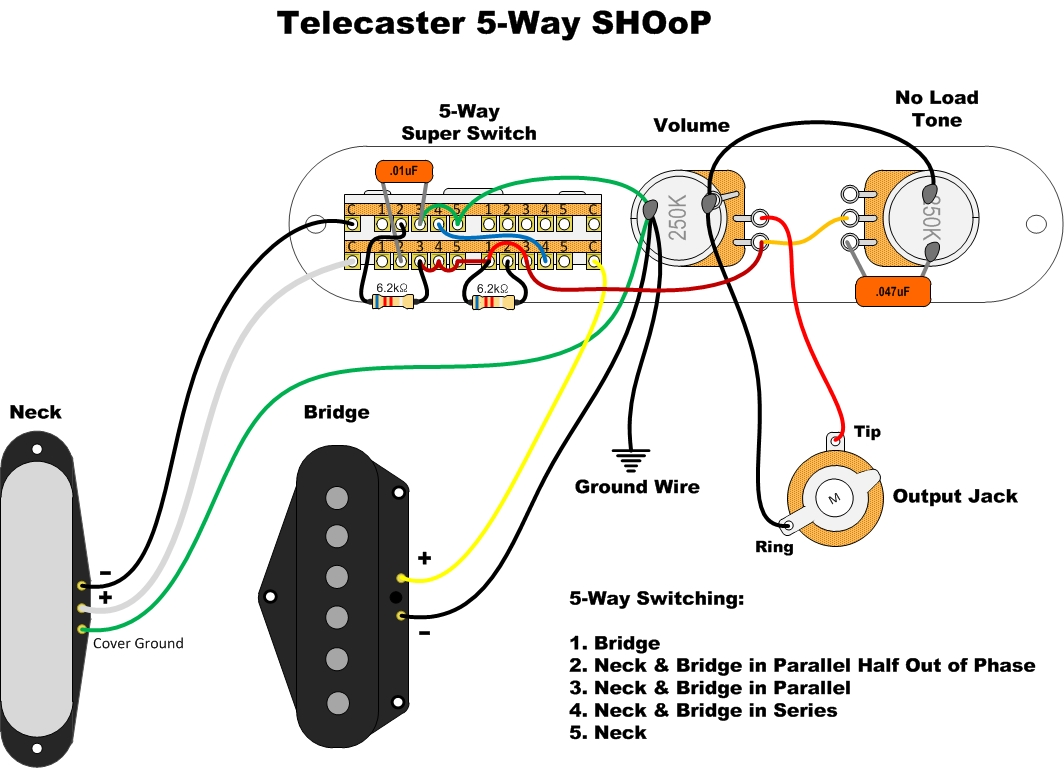 Telecaster 2 Humbuckers 4 Way Switch Wiring Diagram