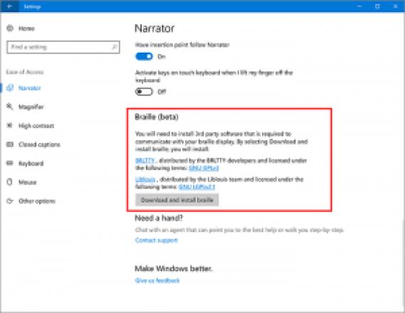 narrador de windows 10 creators update