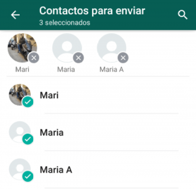 compartir varios contactos en whatsapp