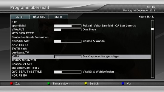 Xtrend ET9500 EPG