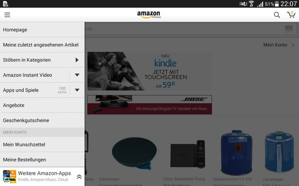 Amazon Instant Video auf dem Tablet