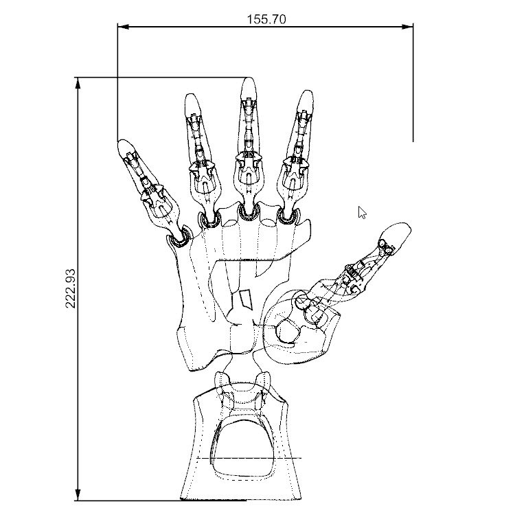 Biomimetic Articulated Hand 3D Model in Mechanical parts