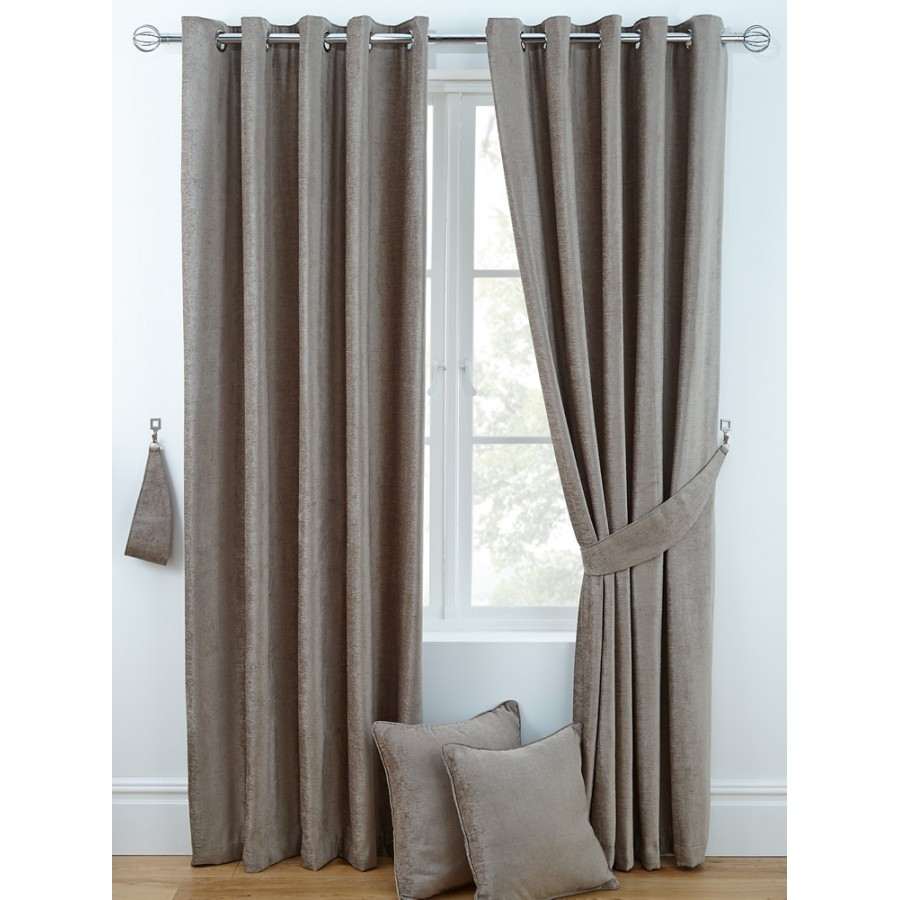 Chenille Ring Top Curtains Pair Finished In Taupe