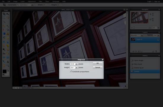 Adjust Image Size in Pixlr